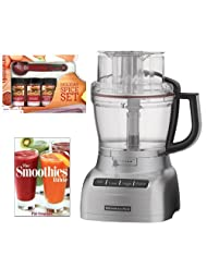 KitchenAid KFP1333CU 13 Cup Food Processor Contour Silver + Kamenstein Mini Measuring Spoons Spice Set + The Smoothies Bible by aSavings