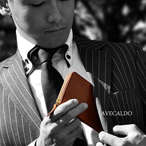 【AVECALDO 高級 本革 財布 メンズ (ブラウン)】AV-J004 レザー 財布 日本製 ウォレット メンズ ラウンドファスナー 財布