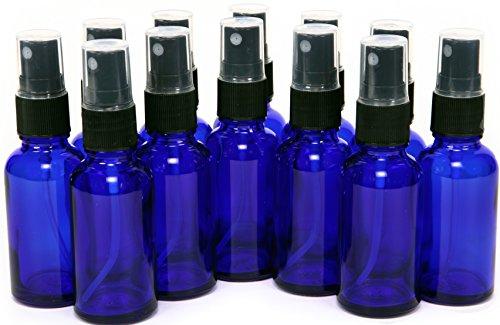 12, Cobalt Blue, 1 oz Glass Bottles, with Black Fine Mist Sprayers (Small Cobalt Blue Glass Bottles compare prices)