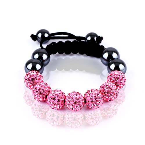 Rivertree London Children's crystal disco ball shamballa bracelet b710 pink