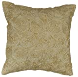Exotique Imports Floral Circular-16x16 Pillow Cover, Creme Silk/sateen Pillow Cover/ Accent Pillow Cover/ Throw Pillow Cover