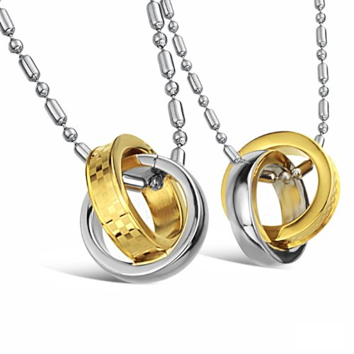 Opk Jewellery Necklaces Stainless Steel Neckwear Chains 2 Circular Couple Pendant Gold Plated Necklets