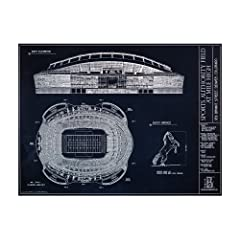 Sports Authority Field at Mile High Blueprint Style Print by Ballpark Blueprints Limited