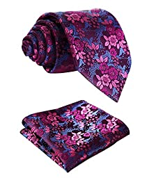 SetSense Men\'s Floral Jacquard Woven Tie Necktie Set 8.5 cm / 3.4 inches in Width Hot Pink / Blue