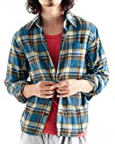 チェック柄ネルシャツ チェックシャツ 長袖 オンブレ メンズ カジュアル Mサイズ 10ブルー