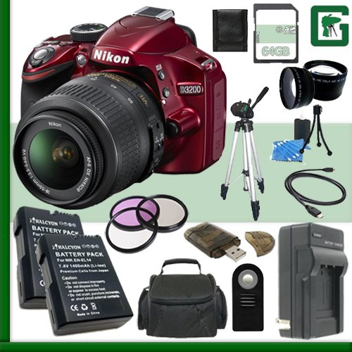 Nikon D3200 Cmos Dslr Camera With 18-55Mm Vr Lens (Red) + 64Gb + Green'S Camera Bundle