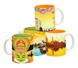 Tangerine Indie Tadka Agra and Kovalam Porcelain Mug Set, 250ml, Set of 4, Multicolour