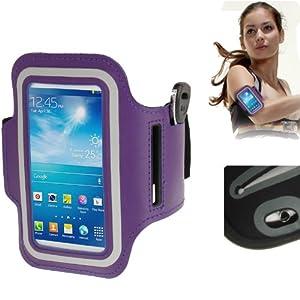 Brassard sport tour de bras violet pour Samsung Galaxy SIV mini S4 mini / i9190 idéal pour les sportifs, course à pied ou salle de sport avec pochette pour clés