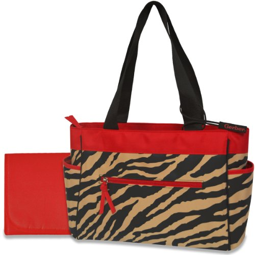 Gerber Diaper Tote Bag, Red/Black Zebra front-261027