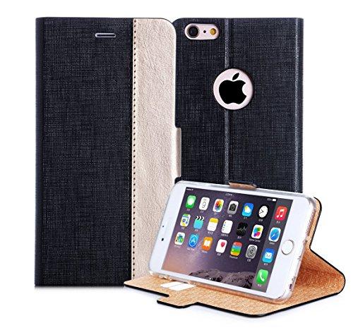 iPhone6s ケース iPhone6ケース,Fyy 良質PUレザーケース 手帳型 保護カバー カード収納ホルダー付き スタンド機能付 マグネット式 スマートフォンケース ブラックxゴールド