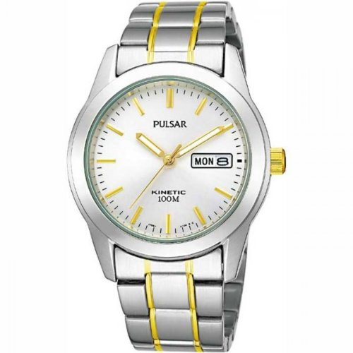 Pulsar Men's Kinetic White Dial Two-Tone Bracelet Watch - PD2027X1