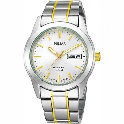 Pulsar Men's Kinetic White Dial Two-Tone Bracelet Watch - PD2027X1