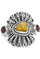 Xtremegems Ethiopian Opal Rough & Garnet 925 Sterling Silver Ring Jewelry Size 7 586R