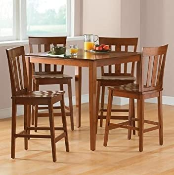 Mainstays 5-Piece Counter Height Dining Set, Cherry Home Kitchen Furniture Dining Table and Stools Set Contemporary Styling