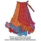 Patchwork long silk sari wrap skirt by Jedzebel PW121