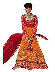 Stylelok Orange Georgette Anarkali Suit With Matching Dupatta Sl 1713010