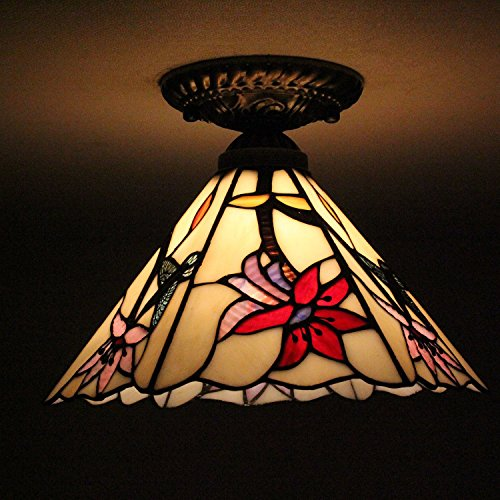 8-inch Vintage Pastoral Stained Glass Tiffany Hummingbird With Flowers Ceiling Light Living Room Chandelier Hallway Chandelier