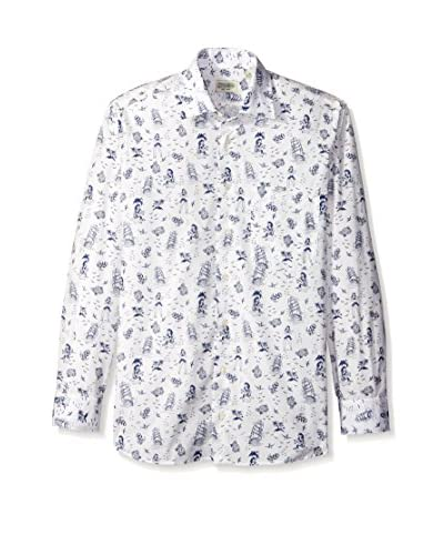 Gitman Blue Men's Beach Print Spread Collar Sport Shirt