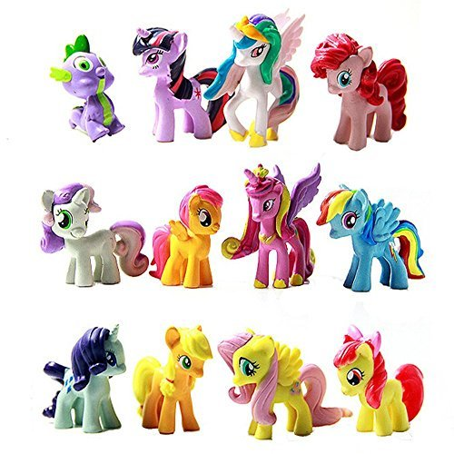 Generic 12 Piece Set My Little Pony Cake Toppers Cupcake Toys Figurines Decoration for Life Ornaments, Multicolor