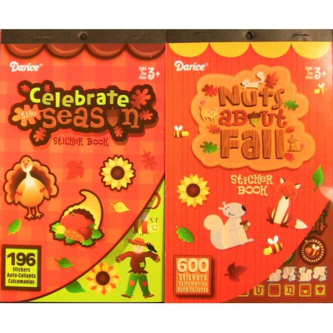 2 BOOKS of - AUTUMN - Fall - Mini STICKERS (796 total stickers) Thanksgiving - Halloween Kid's ACTIVITY Craft Party FAVORS -Scrapbooking PARTY PROJECT - 1