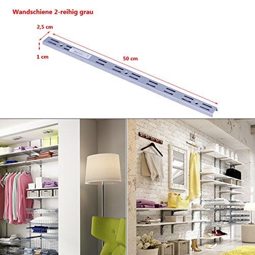 Regalsystem Wandschiene Wandleiste 1 und 2-reihig Stahl Haushaltsregal Metallregal Schraubregal grau 2-reihig-50cm