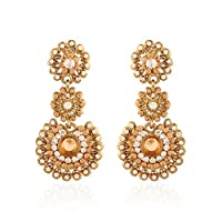 I Jewels Traditional Gold Plated Stone Dangle & Drop Earrings For Women E2099Lw (Lct/Gold)