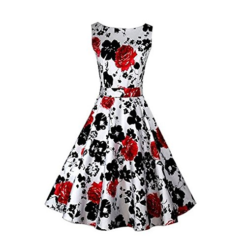 FIODAY Women's Vintage 1950's 'Audrey Hepburn' Style Sleeveless Floral Print Rockabilly Party Swing Dress