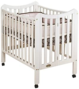 in 1 portable crib with two levels white wood porta crib