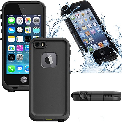 Kecko iPhone 5s/SE Protective Slim iPhone Cases Rugged Waterproof Shockproof Snowproof Dirtpoof Protection Case Cover with Fingerprint ID for Apple iPhone 5s/SE (Black) (Jack Frost Iphone 5s Case compare prices)