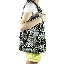 kilofly Large Bohemian Cloth Shoulder Bag Handbag Tote, Musetta Grey Blossoms