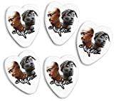 2pac Tupac 5 X Love Heart Guitar Picks Both Sides Printed