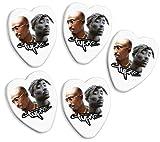 2pac Tupac 5 X Love Heart Guitar Picks Both Sides Printed