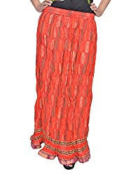 Soundarya Women's Cotton Long Skirt(RSGPS3, 38, Red)