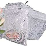 WAWO 40PCS Silver Stars White Organza Colors Jewelry Pouch Bags Display 90*70mm