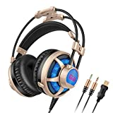 Honstek G6 PC Gaming Headset Over-Ear, LED, with Microphone, Volume/Vibration Control, Dual 3.5mm Jacks/USB Plug for Computer/Laptop.(Black Gold)