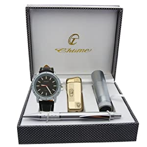 Montre Concept - Gift Box CBL - lighter - torch - men's Analog Watch - Black Synthetic Strap / Bracelet - Round Dial Black Background