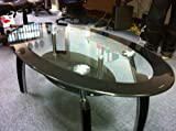 Elena Black Border Glass Coffee Table with Undershelf