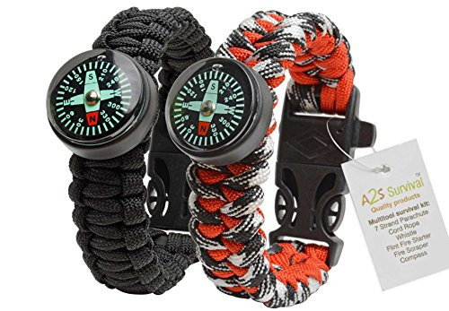 A2S Paracord Bracelet Survival Gear Kit Colorful Everest Series with built-in New Type Compass, Fire Starter, Emergency Knife & Whistle
