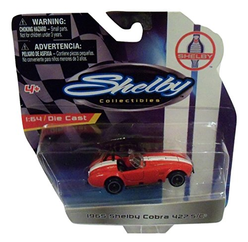 Shelby Collectibles Officially Licensed Ford 1:64 Die-cast Vehicle ~ 1965 Shelby Cobra 427 S/C Convertible (Red with Dual White Racing Stripes)