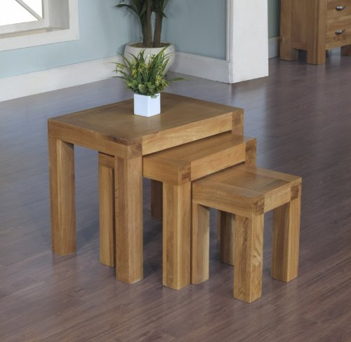 Plaza Rustic Oak Furniture Nest of 3 Table