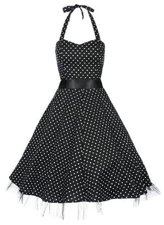 Lindy Bop 'Bonnie' Black Polka Dot Vintage 1950'S Rockabilly Pinup Halter Party Swing Dress, Large