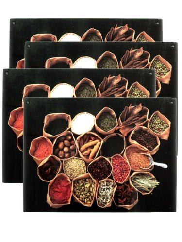 Set 4 Spices Tempered Glass Cutting Board / Kitchen Decor