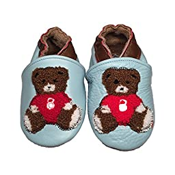 Baby Rae Infant/Toddler Teddy Bear Soft Sole Leather Shoes