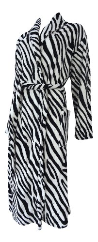 100% Luxury Fleece Zebra Stripe Dressing Gown - 4 Sizes