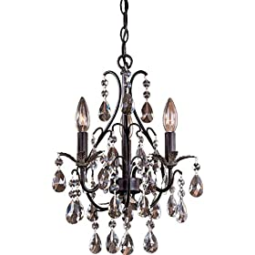 Minka Lavery Lights 3122-301 Mini 3LT Chandelier Castlewood Walnut Chandeliers Indoor Lighting