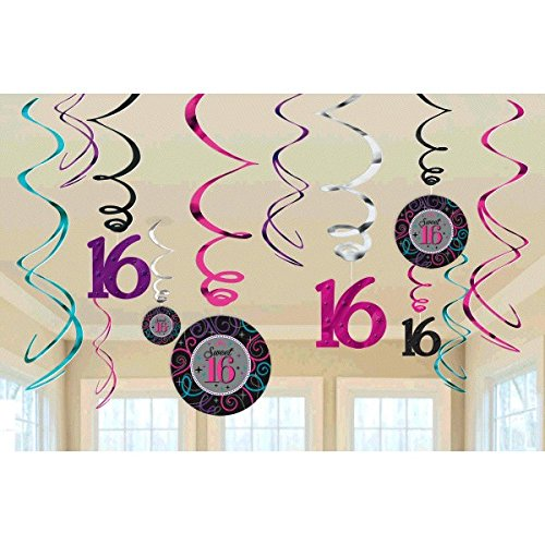 Amscan Chic Sweet Sixteen Birthday Celebration Swirl Value Pack (12 Piece), Black/Silver/Magenta