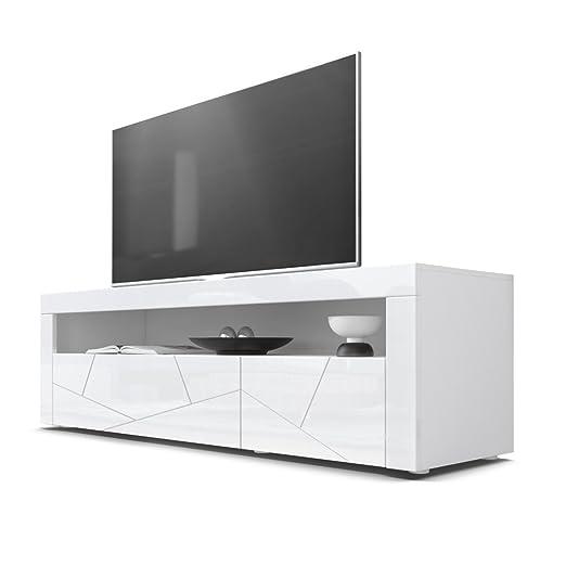 TV Board Lowboard Valencia, Korpus in Weiß / Fronten in Weiß Hochglanz Element 3D Struktur und Blenden in Weiß Hochglanz