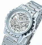 E-seven 腕時計 メンズ 手巻き 機械式 スケルトン メタル バンド tskms (シルバーフェイス)