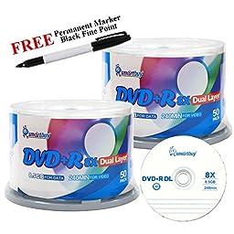 Smartbuy 100-disc 8.5GB/240min 8x DVD+R DL Logo Top Blank Media Record Disc + Black Permanent Marker
