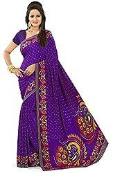 Design Willa Smooth feel Art crepe Sari (DWPC055,Purple)